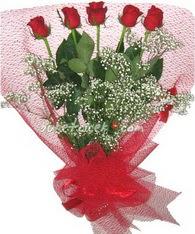 5 adet kirmizi gülden buket tanzimi  Muğla online çiçek gönderme sipariş