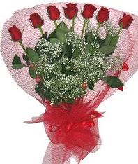 7 adet kipkirmizi gülden görsel buket  Muğla ucuz çiçek gönder