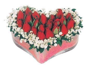 Muğla cicekciler , cicek siparisi  mika kalpte kirmizi güller 9