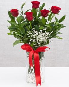 cam vazo içerisinde 5 adet kırmızı gül  Muğla İnternetten çiçek siparişi