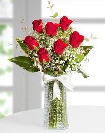 Cam vazoda 7 adet kırmızı gül  Muğla 14 şubat sevgililer günü çiçek
