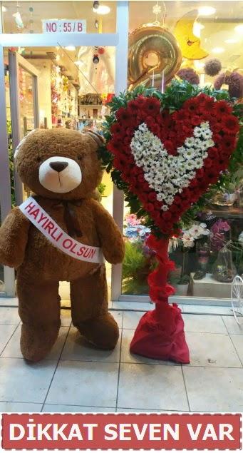 1.5 Metre peluş ayı ve Kalp  Muğla çiçek siparişi vermek