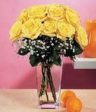 Muğla çiçek mağazası , çiçekçi adresleri  9 adet sari güllerden cam yada mika vazo