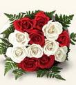 Muğla 14 şubat sevgililer günü çiçek  10 adet kirmizi beyaz güller - anneler günü için ideal seçimdir -