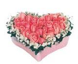 kalp içerisinde 9 adet pembe gül  Muğla uluslararası çiçek gönderme