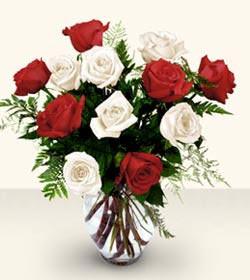 Muğla çiçek gönderme sitemiz güvenlidir  6 adet kirmizi 6 adet beyaz gül cam içerisinde