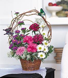 Muğla İnternetten çiçek siparişi  sepet içerisinde karanfil gerbera ve kir çiçekleri