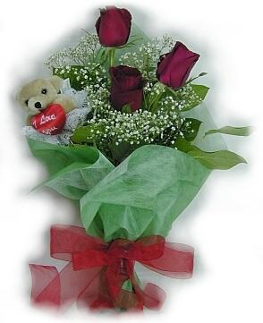 3 adet gül ve küçük ayicik buketi  Muğla çiçek yolla , çiçek gönder , çiçekçi