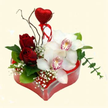Muğla çiçekçi telefonları  1 kandil orkide 5 adet kirmizi gül mika kalp