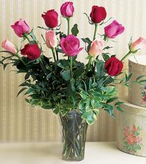 Muğla ucuz çiçek gönder  12 adet karisik renkte gül cam yada mika vazoda