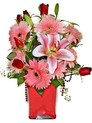 Muğla çiçek yolla , çiçek gönder , çiçekçi   karisik cam yada mika vazoda mevsim çiçekleri mevsim demeti