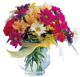 Muğla çiçek mağazası , çiçekçi adresleri  cam yada mika içerisinde karisik mevsim çiçekleri