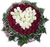 Muğla ucuz çiçek gönder  27 adet kirmizi ve beyaz gül sepet içinde