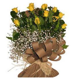 Muğla online çiçek gönderme sipariş  9 adet sari gül buketi