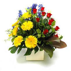 Muğla online çiçekçi , çiçek siparişi  9 adet gül ve kir çiçekleri cam yada mika vazoda