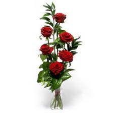Muğla çiçek gönderme sitemiz güvenlidir  mika yada cam vazoda 6 adet essiz gül
