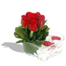Mika kalp içerisinde 9 adet kirmizi gül  Muğla çiçek , çiçekçi , çiçekçilik
