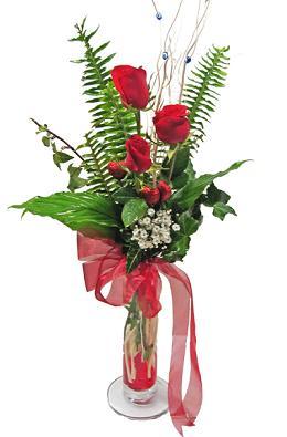 Çiçek gönderin cam vazoda 3 gül çiçekleri  Muğla çiçek servisi , çiçekçi adresleri