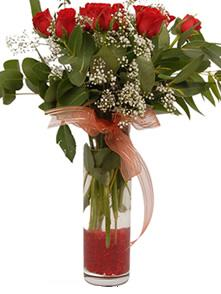 Muğla çiçek gönderme sitemiz güvenlidir  11 adet kirmizi gül vazo çiçegi