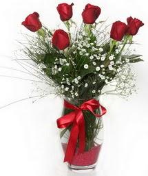 7 adet gülden cam içerisinde güller  Muğla çiçek yolla