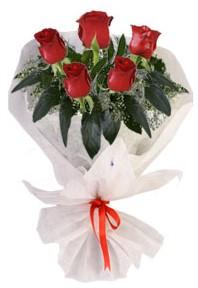 5 adet kirmizi gül buketi  Muğla kaliteli taze ve ucuz çiçekler