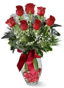 7 adet vazoda gül  Muğla çiçek mağazası , çiçekçi adresleri  kirmizi gül