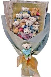 12 adet ayiciktan buket tanzimi  Muğla çiçek yolla , çiçek gönder , çiçekçi