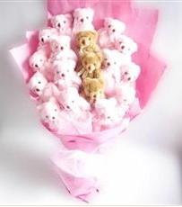 17 adet pelus ayicik buketi  Muğla internetten çiçek siparişi