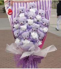 11 adet pelus ayicik buketi  Muğla çiçek siparişi vermek