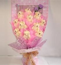 11 adet pelus ayicik buketi  Muğla online çiçek gönderme sipariş