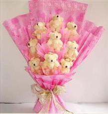 9 adet pelus ayicik buketi  Muğla çiçek gönderme