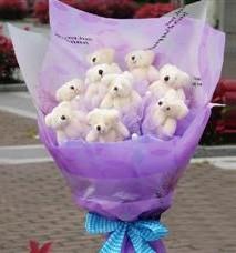 11 adet pelus ayicik buketi  Muğla anneler günü çiçek yolla