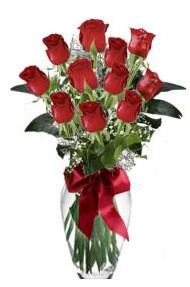 11 adet kirmizi gül vazo mika vazo içinde  Muğla çiçek yolla