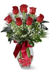 Muğla güvenli kaliteli hızlı çiçek  7 adet kirmizi gül cam vazo yada mika vazoda