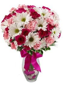 Muğla çiçek servisi , çiçekçi adresleri  Karisik mevsim kir çiçegi vazosu
