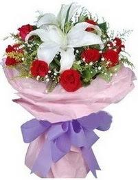 9 adet kirmizi gül 1 adet kazablanka buketi  Muğla çiçek online çiçek siparişi