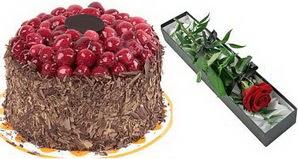 1 adet yas pasta ve 1 adet kutu gül  Muğla çiçek gönderme sitemiz güvenlidir