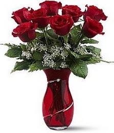 Vazo içinde 8 adet kirmizilar içinde güller  Muğla güvenli kaliteli hızlı çiçek