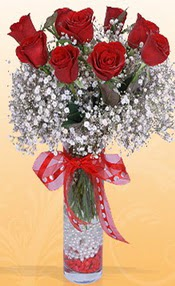 9 adet kirmizi gül cam yada mika vazoda  Muğla ucuz çiçek gönder