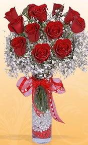 10 adet kirmizi gülden vazo tanzimi  Muğla çiçek servisi , çiçekçi adresleri