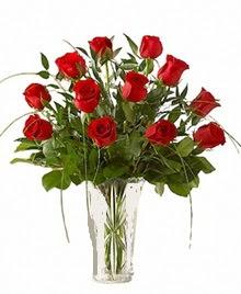 cam yada mika vazo içerisinde 9 kirmizi gül  Muğla çiçek servisi , çiçekçi adresleri