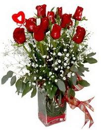 Muğla yurtiçi ve yurtdışı çiçek siparişi  9 adet mika yada cam vazoda gül tanzimi kalp çubuk