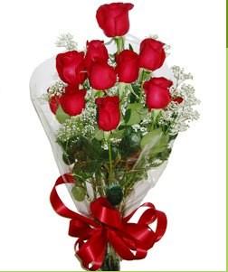 Muğla çiçek gönderme sitemiz güvenlidir  10 adet kırmızı gülden görsel buket