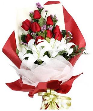 Muğla kaliteli taze ve ucuz çiçekler  1 dal kazablankaa 9 adet kırmızı gül buketi