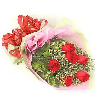 Muğla 14 şubat sevgililer günü çiçek  6 adet kırmızı gülden buket