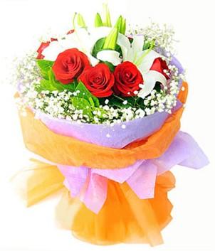 Muğla çiçek siparişi vermek  1 dal kazablanka 7 adet kırmızı gül buketi