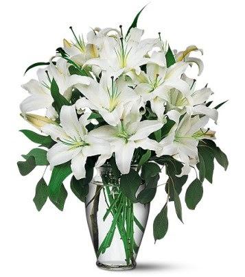 Muğla çiçek mağazası , çiçekçi adresleri  4 dal kazablanka ile görsel vazo tanzimi