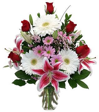 Muğla ucuz çiçek gönder  1 dal kazablanka 5 gül ve kırçiçeği vazosu