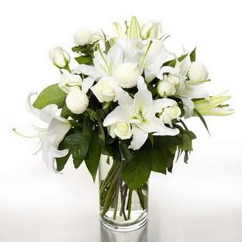 Muğla çiçek siparişi vermek  1 dal cazablanca 7 adet beyaz gül vazosu
