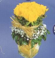 Muğla çiçek gönderme  Cam vazoda 9 Sari gül
